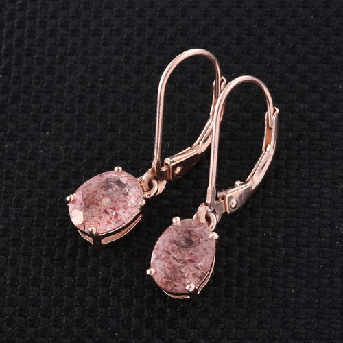 Pink Lepidocrocite Natural Quartz (Ovl) Lever Back Earrings in Rose Gold Overlay Sterling Silver 2.500 Ct.