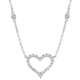 ELANZA AAA Simulated White Diamond (Rnd) Heart Necklace (Size 18 with 1 inch Extender) in Rhodium Plated Sterling Silver
