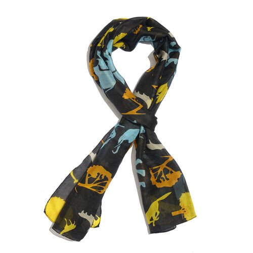 100% Mulberry Silk Black and Multi Colour Animal Pattern Printed Scarf (Size 180x50 Cm)