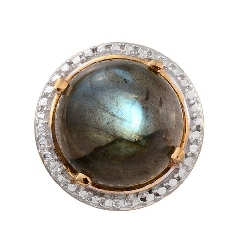 Labradorite (Rnd) Solitaire Pendant in 14K Gold Overlay Sterling Silver 6.750 Ct.