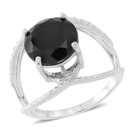 Boi Ploi Black Spinel (Rnd) Solitaire Ring in Sterling Silver 3.650 Ct.
