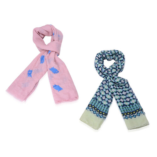 Set of 2 - Multi Colour Diamond Pattern and Royal Blue Colour Owl Pattern Pink Colour Scarf with a Hanger (Size 175x90 Cm)