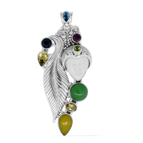 Princess Bali Collection OX Bone Carved Face, Green Jade, Yellow Jade, Citrine, Kanchanaburi Blue Sapphire, African Ruby and Multi Gemstone Pendant in Sterling Silver 25.550 Ct.