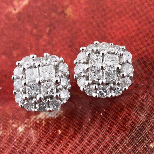 9K White Gold Diamond (Princess Cut) Stud Earrings (with Push Back) 0.500 Ct.