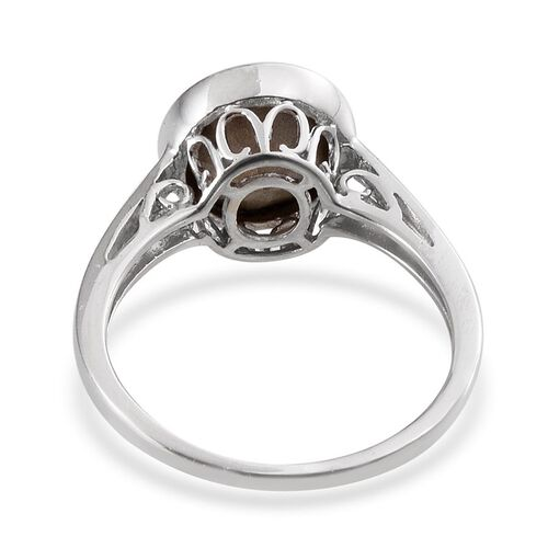 Crystal from Swarovski - Sapphire Colour Crystal (Rnd) Solitaire Ring in Platinum Overlay Sterling Silver 3.250 Ct.