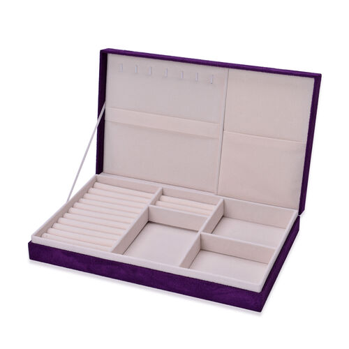 Purple Colour Velvet Multi Slots Jewellery Box with Pouch Pocket Inside (Size 32x19.5x6 Cm)