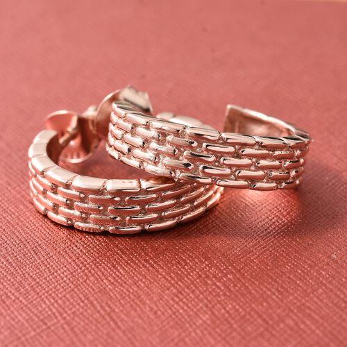 Designer Inspired - Rose Gold Overlay Sterling Silver J Hoop Earrings (with Push Back).Silver Wt 5.27 Gms
