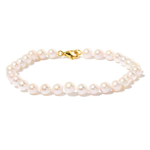 Japanese Akoya Pearl (Rnd) Bracelet (Size 7.5) in Yellow Gold Overlay Sterling Silver