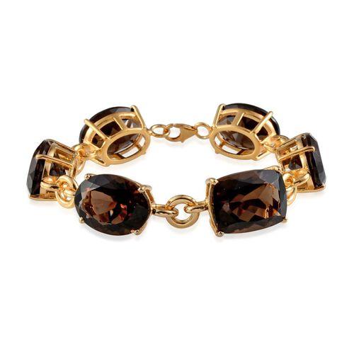 Brazilian Smoky Quartz (Cush 20.00 Ct) Bracelet in 14K Gold Overlay Sterling Silver (Size 7.5) 104.000 Ct.