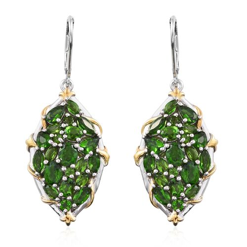 Russian Diopside (Ovl) Lever Back Earrings in Platinum and 14K Gold Overlay Sterling Silver 6.250 Ct. Silver wt. 9.25 Gms.