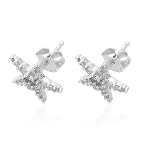 Mega Deal - Diamond (Rnd) Star Stud Earrings (with Push Back) in Platinum Overlay Sterling Silver 0.500 Ct.