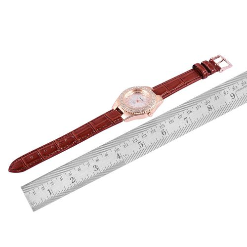 STRADA Japanese Movement White Austrian Crystal Studded White Dial Water Resistant Watch in Rose Gold Tone with Stainless Steel Back and Red Colour Strap