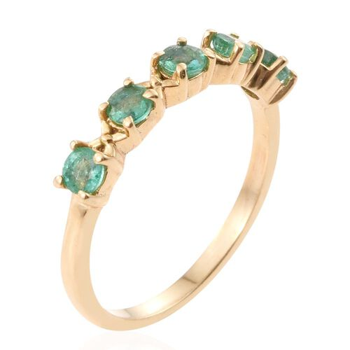 Kagem Zambian Emerald (Rnd) 5 Stone Ring in 14K Gold Overlay Sterling Silver 0.500 Ct.