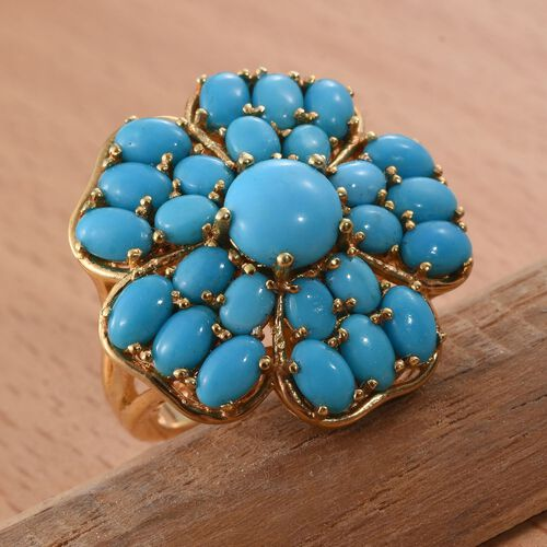 Arizona Sleeping Beauty Turquoise (Rnd) Floral Ring in 14K Gold Overlay Sterling Silver 6.000 Ct.