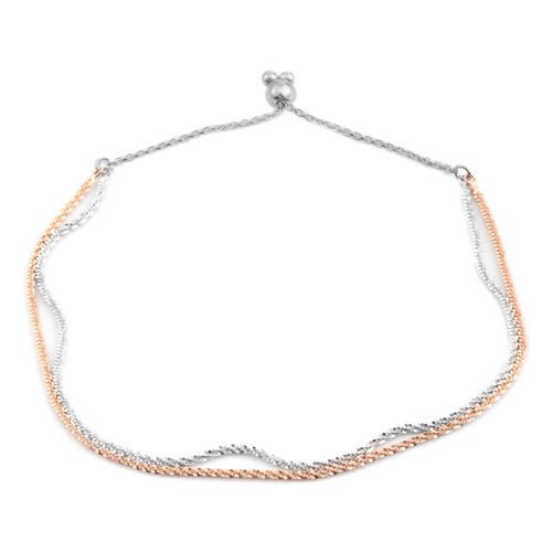 JCK Vegas Collection Rose Gold Overlay and Sterling Silver Dual Strand Adjustable Sparkle Bracelet (Size 6.5 to 8), Silver wt. 3.00 Gms.
