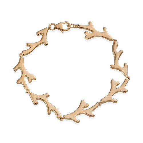 14K Gold Overlay Sterling Silver Coral Reef Bracelet (Size 7.5), Silver wt 7.80 Gms.