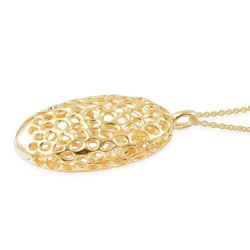 RACHEL GALLEY Yellow Gold Overlay Sterling Silver Charmed Pebble Locket Pendant with Chain (Size 30), Silver Wt 24.48 Gms.