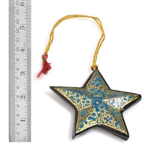 Home Decor - Set of 3 - Turquoise, Black and Golden Colour Wall Hanging Christmas Stars