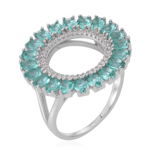 ELANZA AAA Simulated Paraiba Tourmaline (Ovl), Simulated Diamond Ring in Rhodium Plated Sterling Silver. Silver wt. 5.00 Gms.