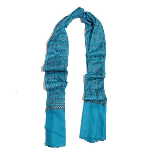 Hand Embroidered Floral Pattern Kashmiri Turquoise Woollen Shawl (Size 200x70 Cm) - 100% Merino Wool