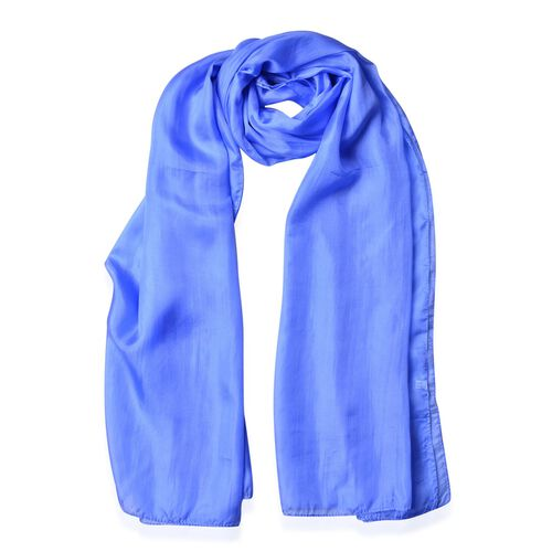 100% Mulberry Silk Blue Colour Scarf (Size 180X100 Cm)