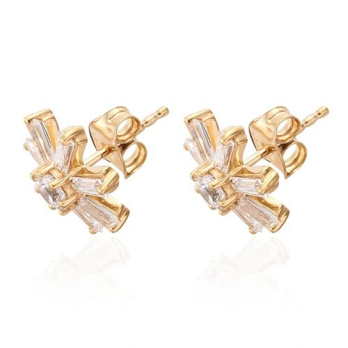 J Francis - 14K Gold Overlay Sterling Silver (Rnd) Snowflake Stud Earrings (with Push Back) Made with SWAROVSKI ZIRCONIA