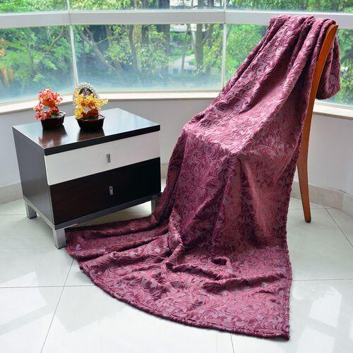 Foil Printed Purple Colour Floral Pattern Flannel Blanket (Size 160x200 cm)
