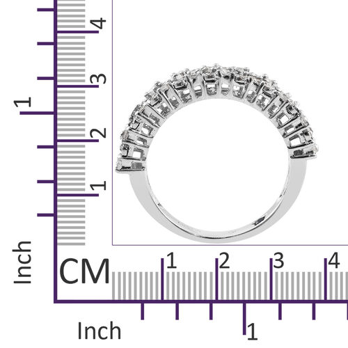 GP Diamond (Rnd and Bgt), Kanchanaburi Blue Sapphire Half Eternity Ring in Platinum Overlay Sterling Silver 0.520 Ct.