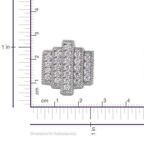 J Francis - Platinum Overlay Sterling Silver (Rnd) Stud Earrings Made with SWAROVSKI ZIRCONIA