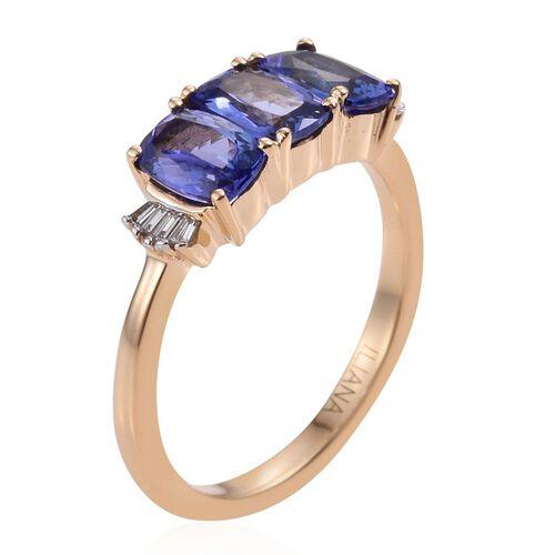ILIANA 18K Yellow Gold AAA Tanzanite (Cush), Diamond Ring 1.750 Ct.