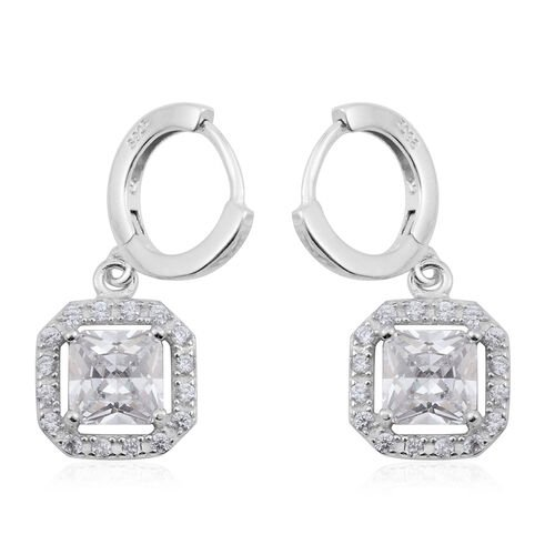 ELANZA AAA Simulated Diamond (Sqr) Earrings in Rhodium Plated Sterling Silver