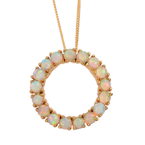 Ethiopian Welo Opal (Rnd) Circle of Life Pendant With Chain in 14K Gold Overlay Sterling Silver 1.500 Ct.