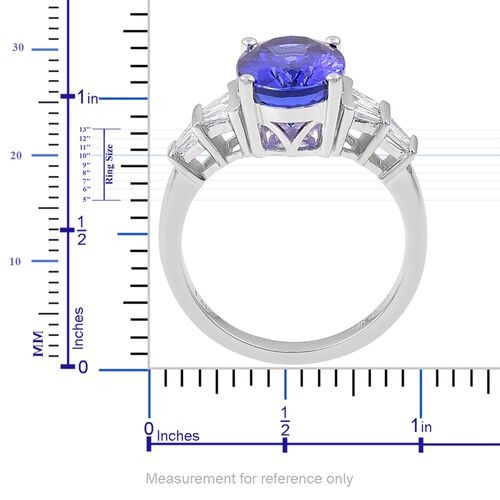 ILIANA 18K White Gold 5.25 Ct AAAA Tanzanite Ring with Diamond (SI/G-H)