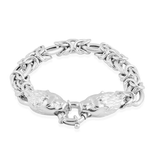 Vicenza Collection Rhodium Plated Sterling Silver Byzantine Bracelet (Size 7.5), Silver wt 26.71 Gms.