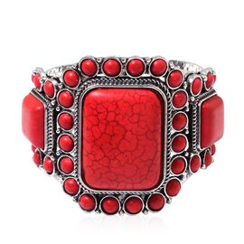 Cocktail Collection - Red Howlite Bangle (Size 7.5) in Silver Plated 200.000 Ct.