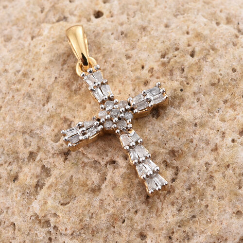 Diamond 0.25 Ct Silver Cross Pendant in Gold Overlay