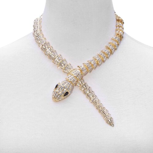 AAA White Austrian Crystal and Simulated Black Diamond Snake Necklace (Size 18) in Gold Tone