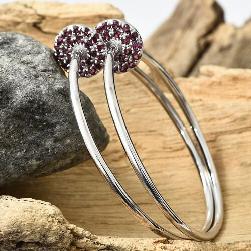 Designer Inspired - Rhodolite Garnet (Rnd) Hoop Earrings in Platinum Overlay Sterling Silver 1.750 Ct, Silver wt 14.50 Gms.