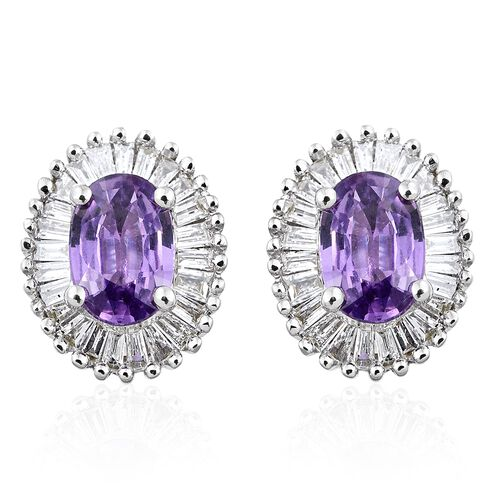 ILIANA 18K White Gold Natural Purple Sapphire (Ovl), Diamond (SI/G-H) Stud Earrings (with Screw Back) 1.350 Ct.