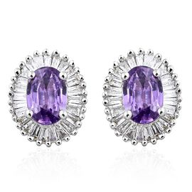 ILIANA 18K White Gold Natural Unheated Purple Sapphire (Ovl), Diamond (SI/G-H) Stud Earrings (with Screw Back) 1.350 Ct.