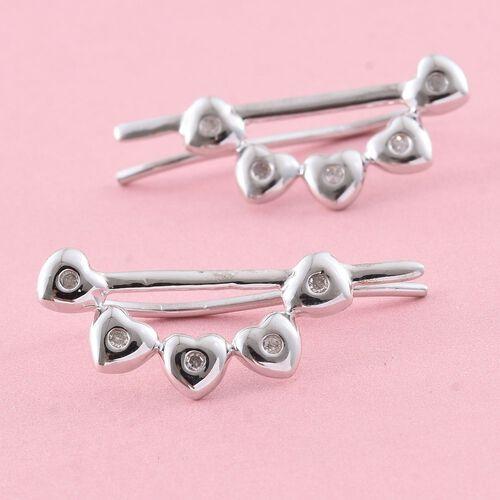 Diamond Heart Climber Earrings in Platinum Overlay Sterling Silver