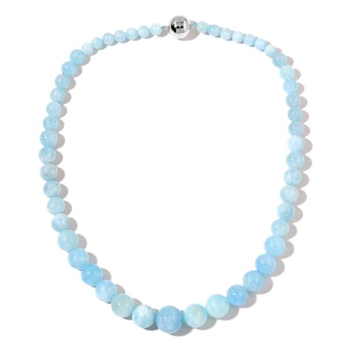 Very Rare Size AAA Espirito Santo Aquamarine Graduated Beads Necklace (Size 20) with Magnetic Clasp in Rhodium Plated Sterling Silver 403.500 Ct.