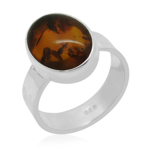 Royal Bali Collection Baltic Color Amber (Ovl) Ring in Sterling Silver 3.460 Ct.