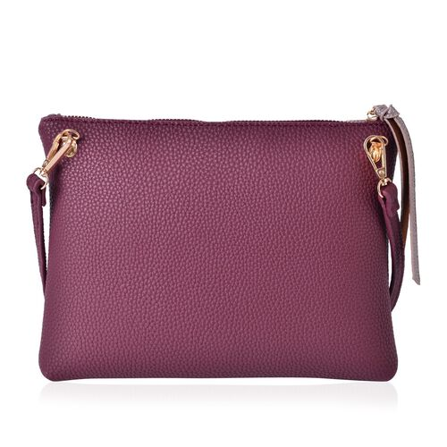 Burgundy and Metallic Bronze Colour Clutch Bag with Adjustable and Removable Shoulder Strap (Size 26x20x4 Cm)