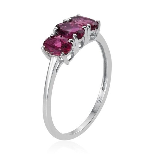 9K W Gold Ouro Fino Rubelite (Ovl) Trilogy Ring 1.250 Ct.
