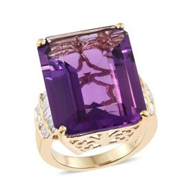 ILIANA 18K Y Gold AAA Zambian Amethyst (Oct 21.50 Ct), Diamond (SI/G-H) Ring 22.400 Ct.