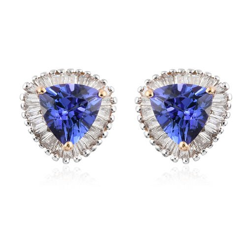 ILIANA 18K Y Gold AAA Tanzanite (Trl), Diamond (SI/G-H) Stud Earrings (with Screw Back) 1.500 Ct.