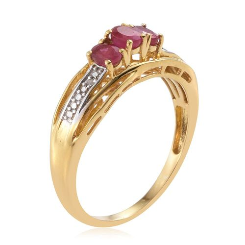 African Ruby and Diamond 0.76 Ct Silver Trilogy Ring in Gold Overlay