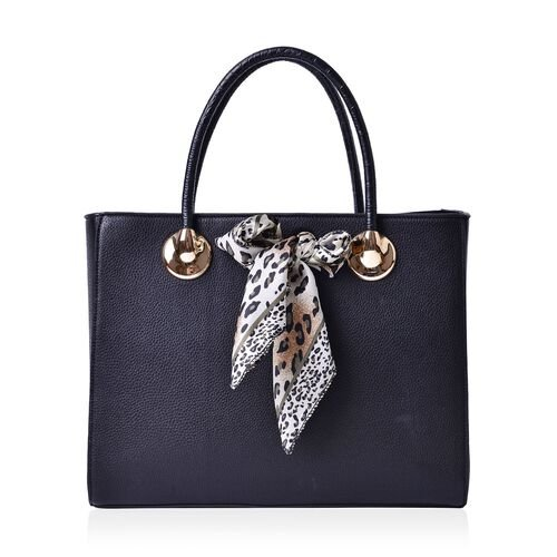 Black Colour Large Tote Bag with External Zipper Pocket, Small Clutch and Black Colour Leopard Pattern White Colour Scarf (Size 35x28x12 Cm, 27x13.5 Cm and 51x47 Cm)