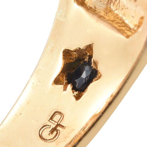 GP Green Amethyst (Sqr), Rhodolite Garnet, Kanchanaburi Blue Sapphire and Natural Cambodian Zircon Ring in 14K Gold Overlay Sterling Silver 10.455 Ct.